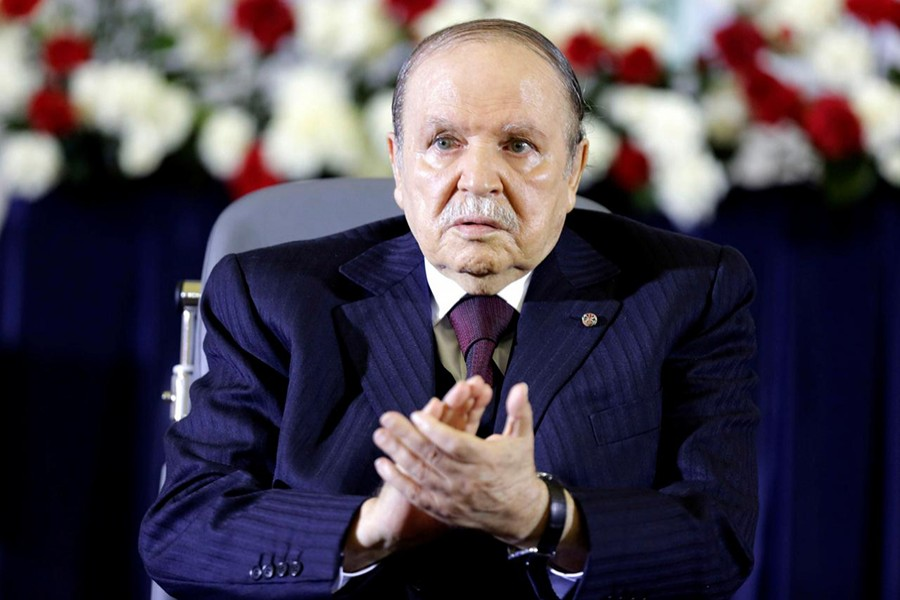 President Abdelaziz Bouteflika claps during a swearing-in ceremony in Algiers on April 28, 2014 — Reuters/Files