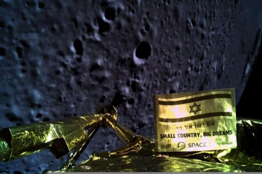 An image taken by Israel spacecraft, Beresheet, upon its landing on the moon, obtained by Reuters from Space IL on April 11, 2019 - Courtesy Space IL/Handout via REUTERS