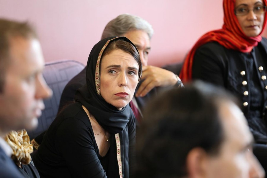 New Zealand Prime Minister Jacinda Ardern meets representatives of the Muslim community at Canterbury refugee centre in Christchurch, New Zealand March 16, 2019 - New Zealand Prime Minister's Office/Handout via Reuters