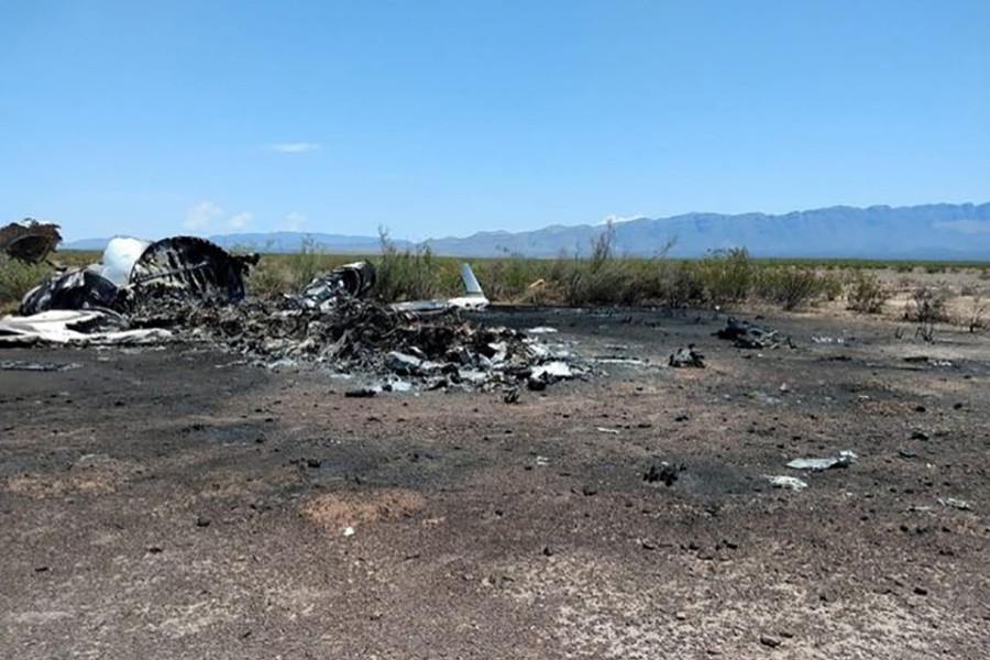 A handout photo made available by La Voz de Monclova newspaper shows wreckage of a private jet that disappeared in the northern Mexican state of Coahuila en route from Las Vegas — via USA Today