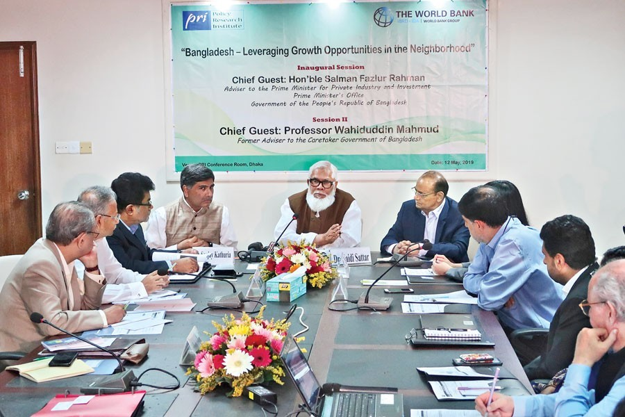 Prime Minister's Adviser for Private Industry and Investment Salman F Rahman speaking at the inaugural session of the Policy Research Institute of Bangladesh (PRI) conference on 'Bangladesh — Leveraging Growth Opportunities in the Neighbourhood' at the PRI office in the city on Sunday — FE photo