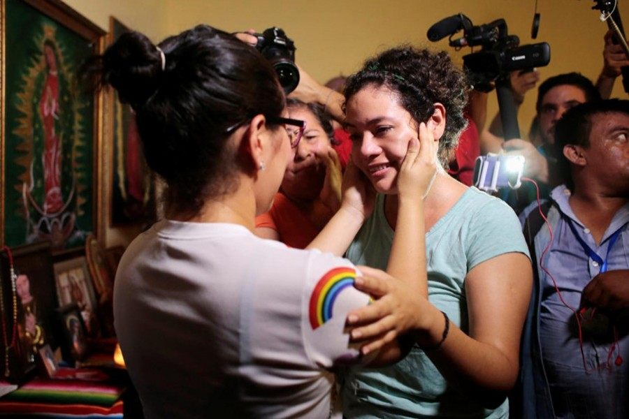Maria Adilia Peralta (C), who according to local media was arrested for participating in a protest against Nicaraguan President Daniel Ortega's government, embraces a relative after being released from La Esperanza Prison, in Masaya, Nicaragua on May 20, 2019 — Reuters photo