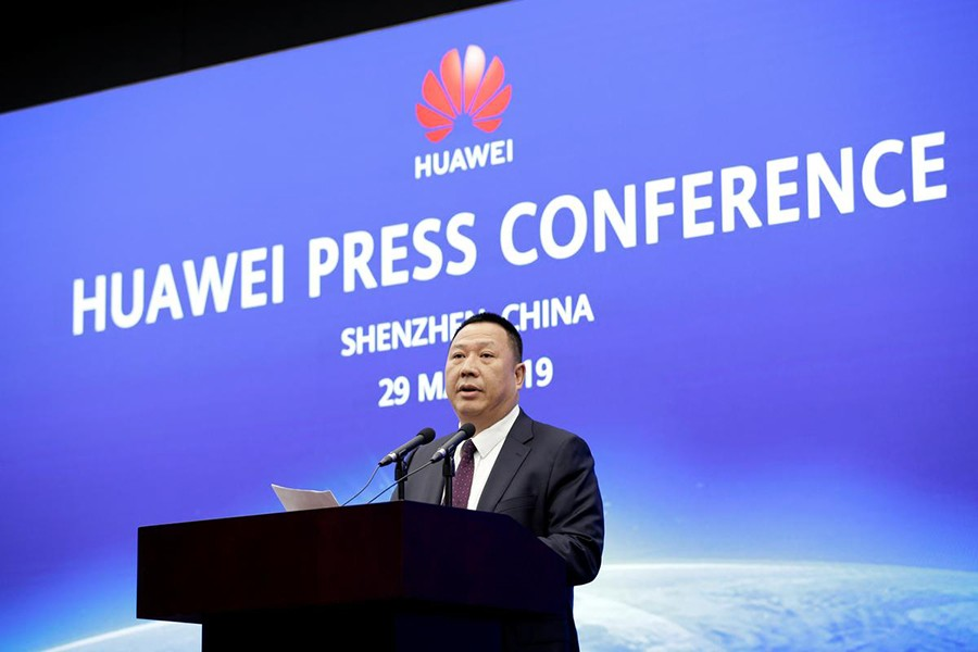 Huawei's Chief Legal Officer Song Liuping attends a news conference on Huawei's ongoing legal action against the US government's National Defense Authorization Act (NDAA) action at its headquarters in Shenzhen, Guangdong province, China on May 29, 2019 — Reuters photo