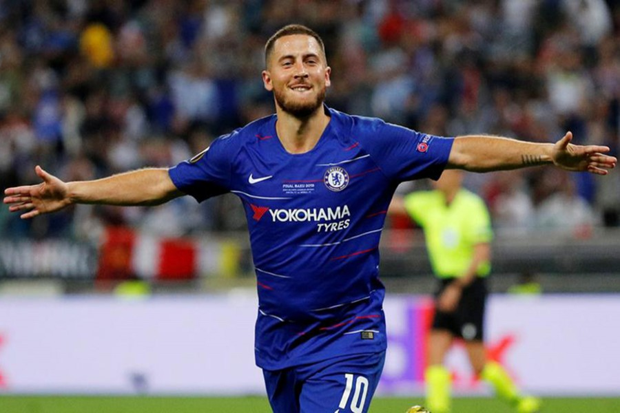 Chelsea's Eden Hazard seen in a cheerful mood during goal celebration in this undated Reuters photo