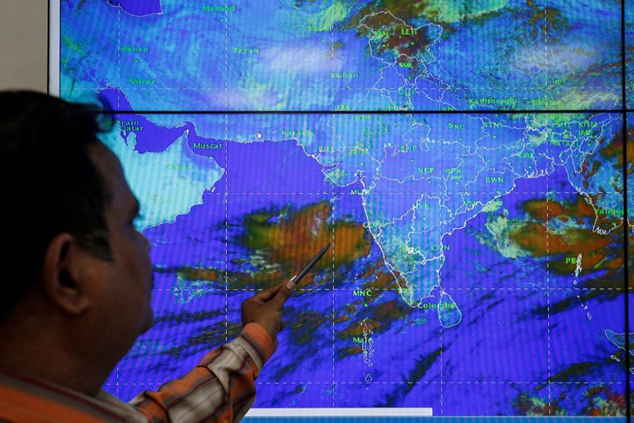 An India Meteorological Department scientist monitors Cyclone Vayu inside his office in Ahmedabad, India on June 11, 2019 — Reuters photo