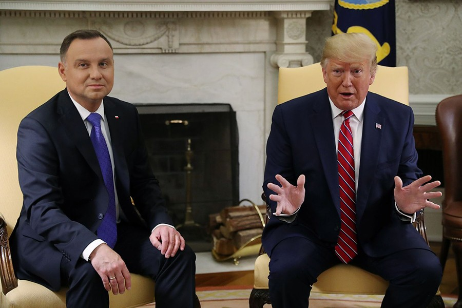 US President Donald Trump speaks during a meeting with Poland's President Andrzej Duda in the Oval Office of the White House in Washington, US, on June 12, 2019 — Reuters photo