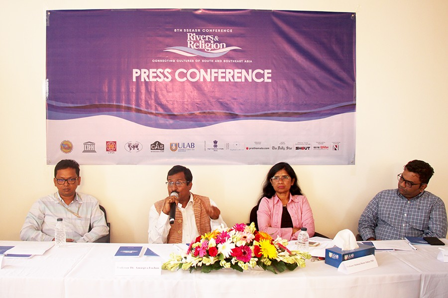 (From left) Pro-vice Chancellor of ULAB Professor Dr Shamsad Mortuza; Chair of the eighth SSEASR Conference Professor Dr Shahnaj Husne Jahan; President of SSEASR Professor Dr Amarjiva Lochan; and Professor Dr Sumon Rahman, Media Studies and Journalism, ULAB can be seen in the press conference