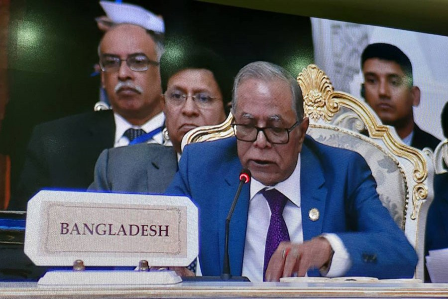 President Abdul Hamid addressing the fifth Summit of Conference on Interaction and Confidence Building Measures in Asia (CICA) at Dushanbe, the capital of Tajikistan on Saturday