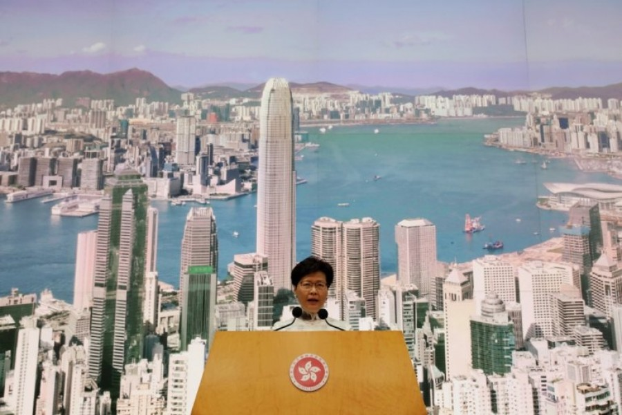 Hong Kong Chief Executive Carrie Lam speaks at a news conference in Hong Kong, China, June 15, 2019. Reuters