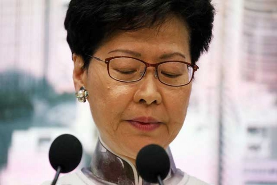 Hong Kong Chief Executive Carrie Lam looks down during a news conference in Hong Kong, China, June 15, 2019. Reuters/Files