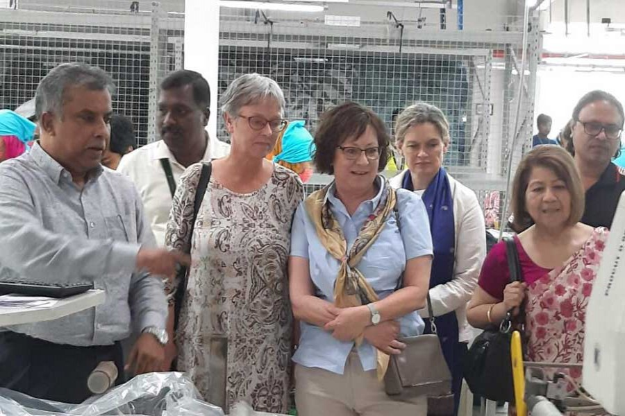 Envoys of three Nordic countries  visiting Plummy Fashions Ltd in Narayanganj on Wednesday