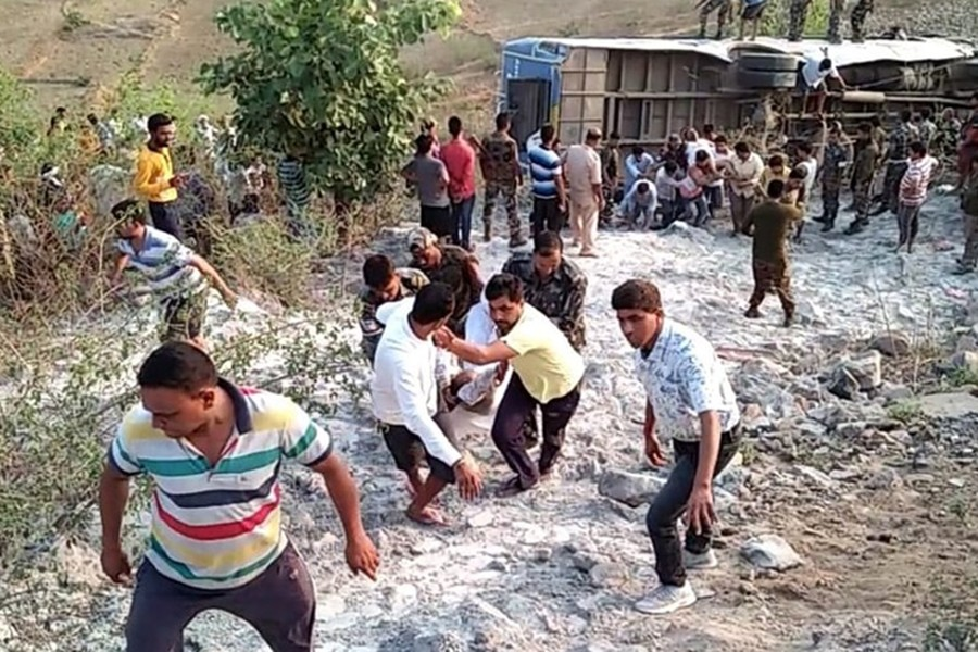 Dead bodies of six passengers have been fished out of the gorge while some are still stuck inside the bus — ANI photo via Hindustantimes
