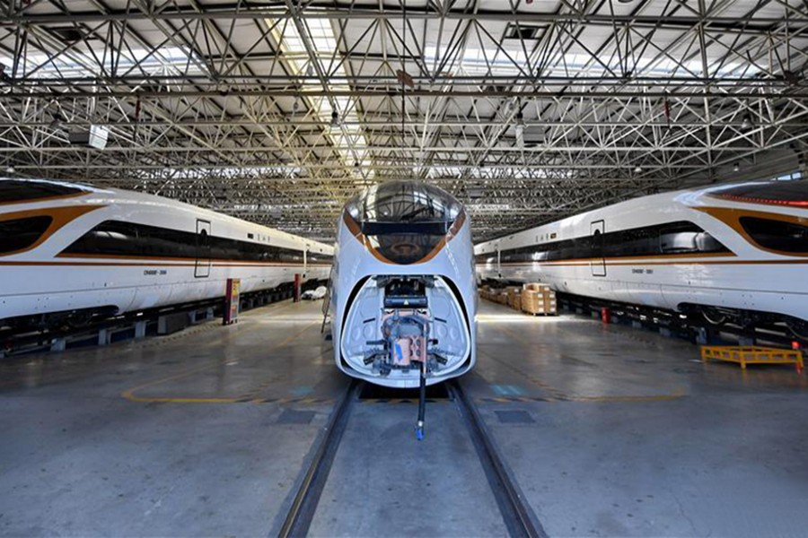 Photo taken on May 31, 2019 shows the production line of bullet train of CRRC Tangshan Co. Ltd. in Tangshan City, north China's Hebei Province. (Xinhua/Mu Yu)