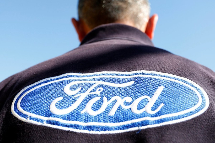 The Ford logo is seen on a t-shirt of an employee in Cuautitlan Izcalli, Mexico on January 4, 2017 — Reuters/Files