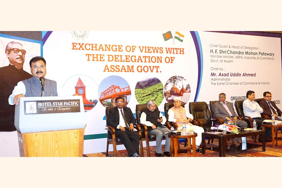 Assam's Minister for Industry & Commerce Shri Chandra Mohan Patowary addressing as the chief guest an exchange of views meeting organised by the SCCI in Sylhet on Wednesday— FE photo