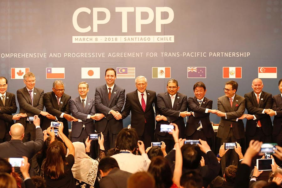 The Comprehensive and Progressive Trans-Pacific Partnership (CPTPP), the successor to the Trans-Pacific Partnership (TPP) trade pact, was signed on March 8 in Chile's capital. —Reuters file photo