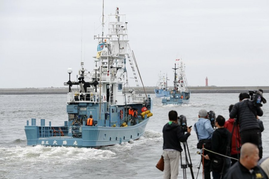 Whaling boat leave a port in Kushiro, Hokkaido, northern Japan Monday, July 1, 2019. Japan is resuming commercial whaling for the first time in 31 years, a long-cherished goal seen as a largely lost cause. (Masanori Takei/Kyodo News via AP)