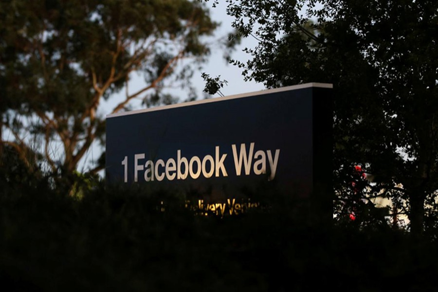 A Facebook address sign is seen at Facebook headquarters in California's Menlo Park on Wednesday, October 10, 2018 — Reuters/Files