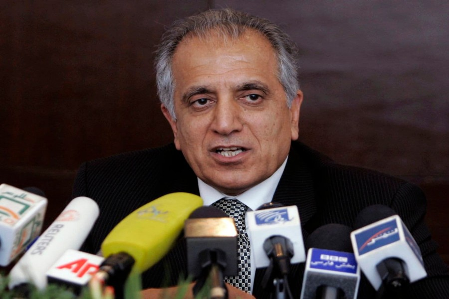 Zalmay Khalilzad, the Trump administration's special envoy for Afghan peace, speaks during a news conference in Kabul in 2009 - Rafiq Maqbool/AP