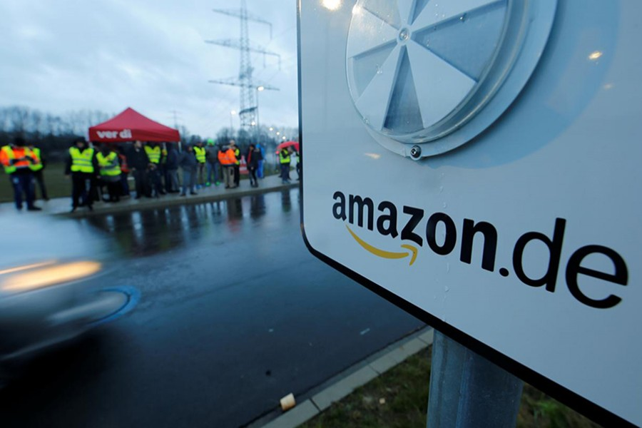 An Amazon sign is seen during strike action at an Amazon logistics centre in Werne, Germany on December 17, 2018 — Reuters/Files