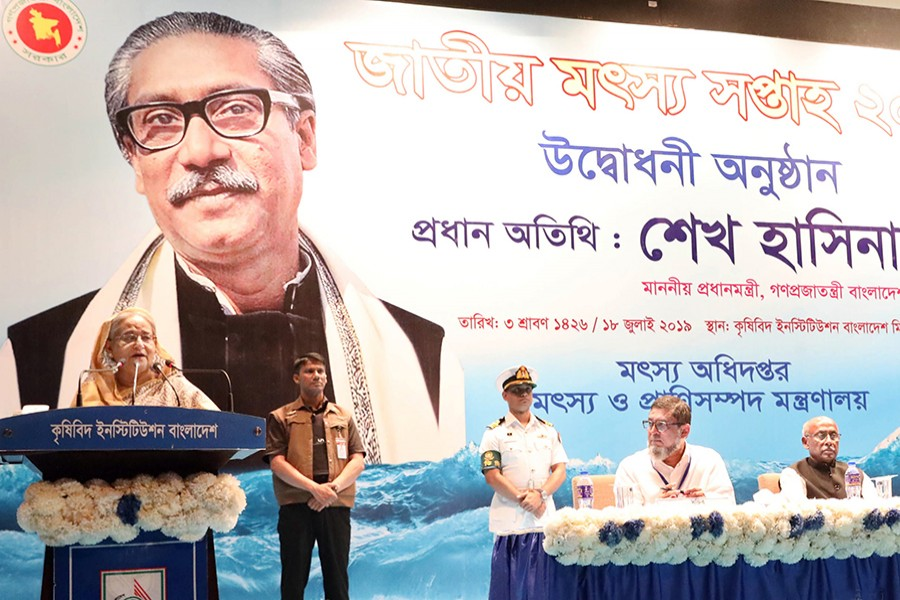Prime Minister Sheikh Hasina addressing the inaugural function of the National Fisheries Week 2019, held at the auditorium of Krishibid Institution Bangladesh (KIB) in the capital  — Focus Bangla photo