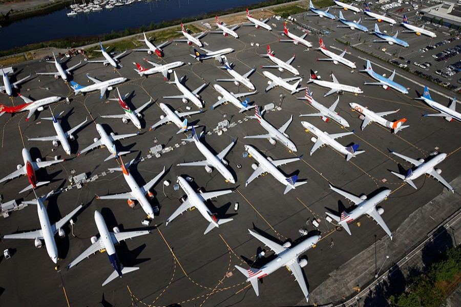 Dozens of grounded Boeing 737 MAX aircraft are seen parked in an aerial photo at Boeing Field in Seattle, Washington, US on July 1, 2019. Picture tay 1, 2019 — Reuters photo