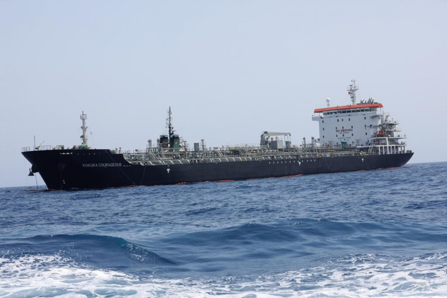 A general view of Japanese-owned Kokuka Courageous tanker off the coast of Fujairah, United Arab Emirates, June 19, 2019. Reuters/File Photo