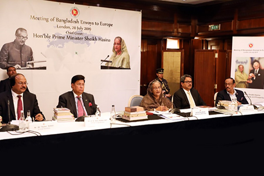 Prime Minister Sheikh Hasina speaking as the chief guest at the 'Envoys' Conference', the first of its kind, in London