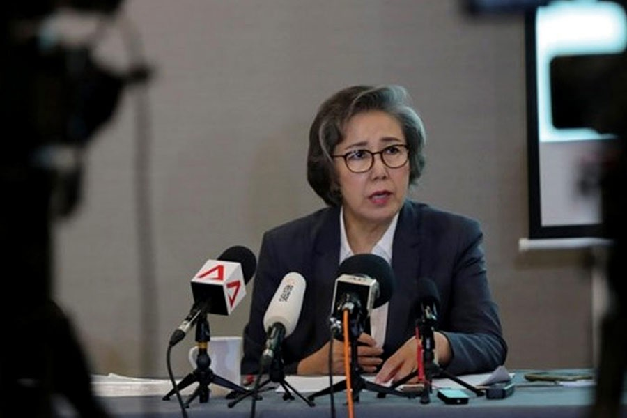 UN Special Rapporteur for Human Rights in Myanmar, Lee Yanghee, speaks during a press conference in Kuala Lumpur on  July 18, 2019: A US travel ban on Myanmar's army chief and three other top officers for their role in orchestrating a crackdown against Rohingya Muslims does not go far enough, she says. —Photo: AP