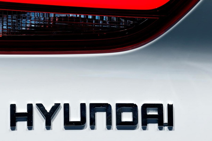 The Hyundai logo is seen during the first press day of the Paris auto show, in Paris, France on October 2, 2018 — Reuters photo