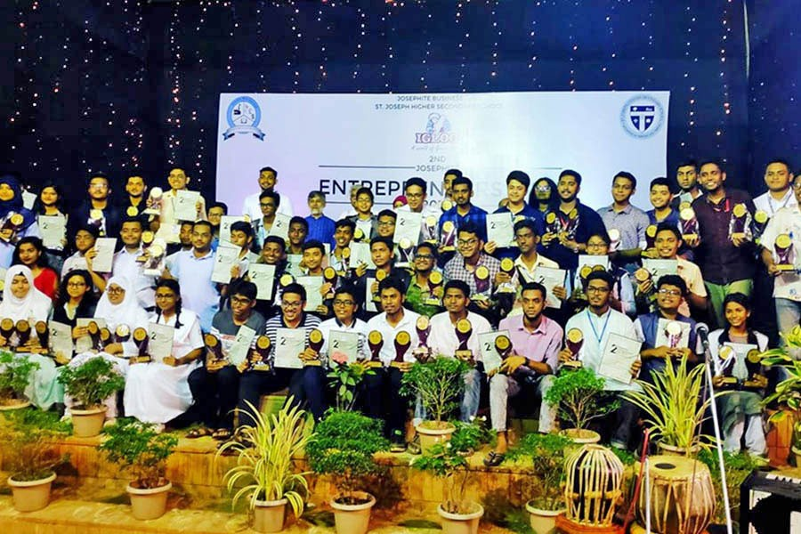 Guests and participants seen at a three-day business festival organised by Josephite Business Club of the St. Joseph Higher Secondary School on its campus at Mohammadpur in the city recently