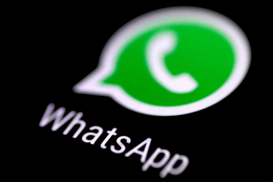The WhatsApp messaging application is seen on a phone screen on August 3, 2017 — Reuters/Files