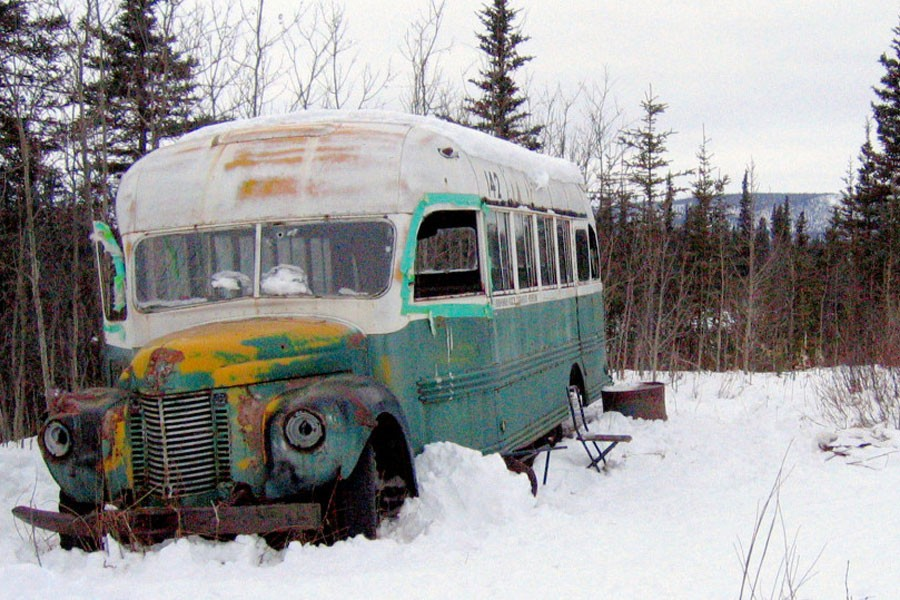 The abandoned bus where Christopher McCandless starved to death in 1992 is seen in this March 21, 2006 photo on the Stampede Road near Healy, Alaska. McCandless, who hiked into the Alaska wilderness in April 1992 died in there in late August 1992, was apparently poisoned by wild seeds that left him unable to fully metabolize what little food he had - AP photo/ Jillian Rogers