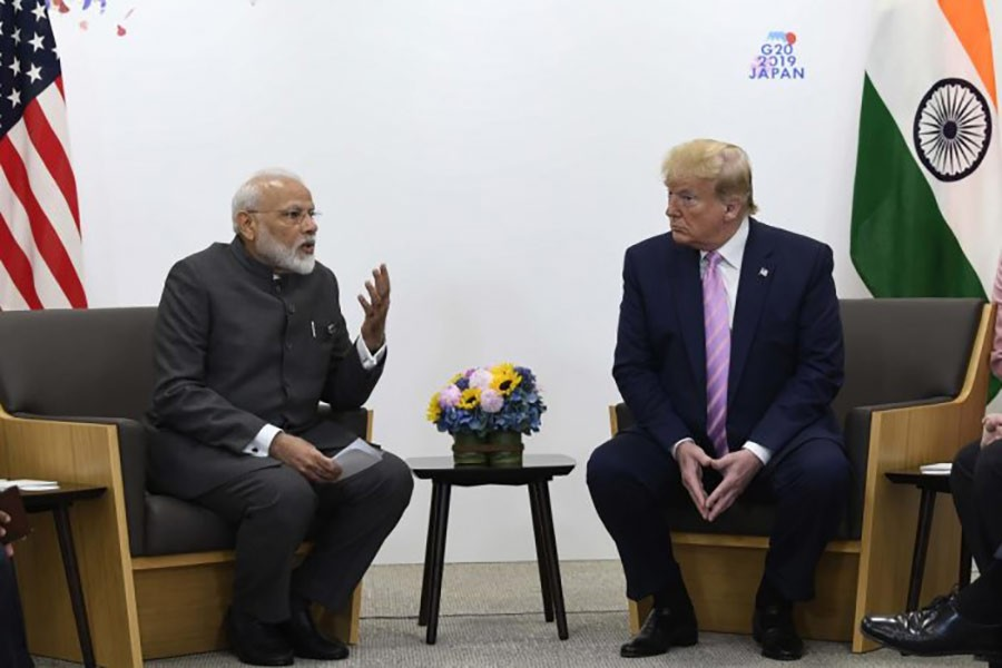 US President Donald Trump (right) meets with Indian Prime Minister Narendra Modi during a meeting on the sidelines of the G-20 summit in Osaka, Japan on June 28, 2019.             —Photo: AP