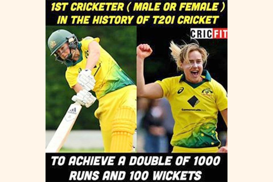 Perry first cricketer to reach 1000 runs, 100 wickets in T20s