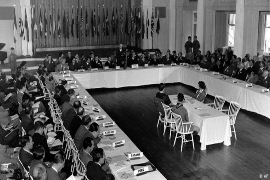 Bretton Woods Conference, meeting at Bretton Woods, New Hampshire (July 1-22, 1944), to make financial arrangements for the post-World War II world.               —Photo: AP
