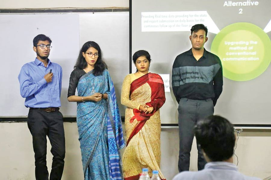 Team Adrioters making their presentation at the 'TEXBIZ', arranged by Bangladesh University of Textiles (BUTEX) Business Club