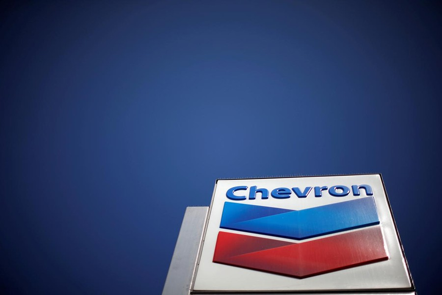 The logo of Dow Jones Industrial Average stock market index listed company Chevron (CVX) is seen in Los Angeles, California, United States on April 12, 2016 — Reuters/Files