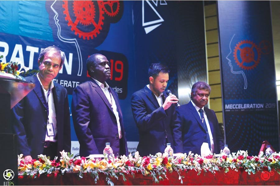 The chief guest and other dignitaries during the opening ceremony of 'Mecceleration 2019', a mechanical engineering festival held at Islamic University of Technology (IUT), Gazipur