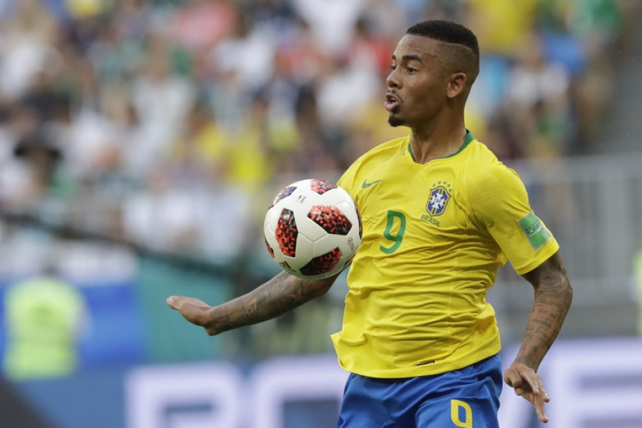 In this file photo dated Monday, July 2, 2018, Brazil's Gabriel Jesus controls the ball during the round of 16 match between Brazil and Mexico at the 2018 soccer World Cup at the Samara Arena, in Samara, Russia. Brazil forward Gabriel Jesus extended his Manchester City contract on Friday Aug. 3, 2018, to 2023, adding two more years to his previous deal - AP Photo/Andre Penner, FILE