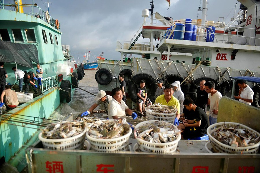 Workers unload seafood from fishing boats before super typhoon Lekima makes landfall in Zhoushan, Zhejiang province, China on August 8, 2019. Picture taken August 8, 2019 — Reuters photo