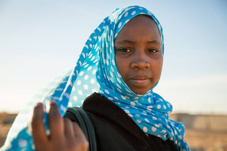 Aichetou, 14, is in class 8 at College Riyad 5, Tarhil, Nouakchott, Mauritania