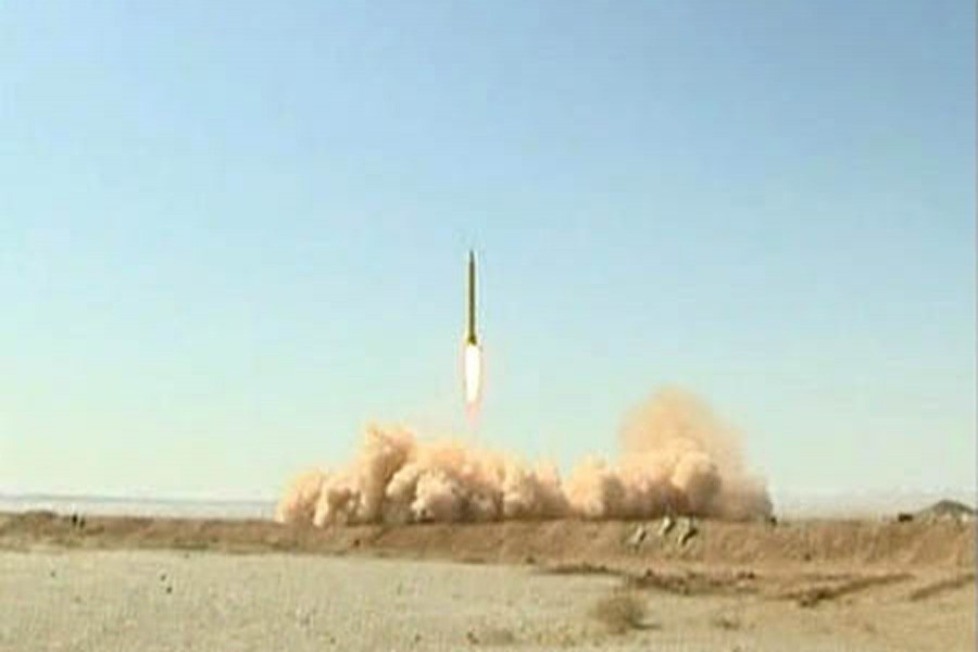 A Ghadr 1 class Shahab 3 long range missile rises into the air during a test from an unknown location in central Iran, September 28, 2009. Reuters/Files