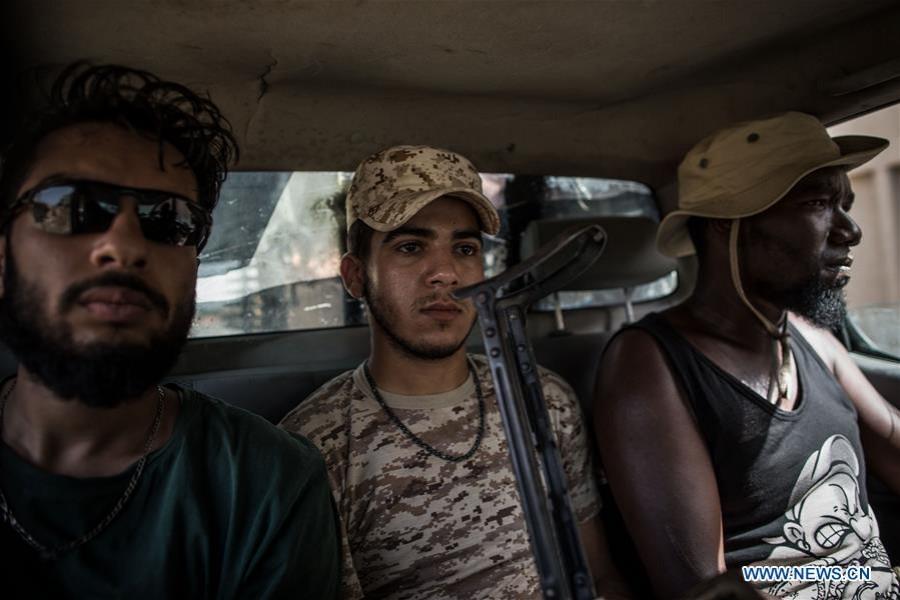 Fighters of the UN-backed Government of National Accord (GNA) are seen at the Al-Yarmook frontline in Tripoli, Libya, on Aug. 9, 2019. - Xinhua