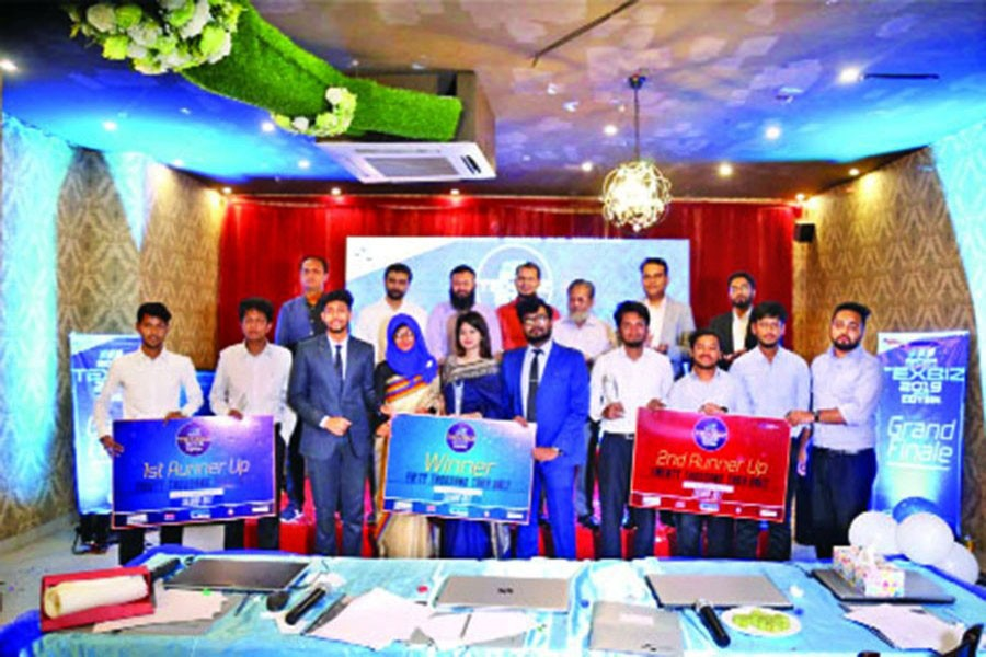 Winning team members with dignitaries present at the grand finale of TEXBIZ 2019 organised by Bangladesh University of Textiles (BUTEX) Business Club