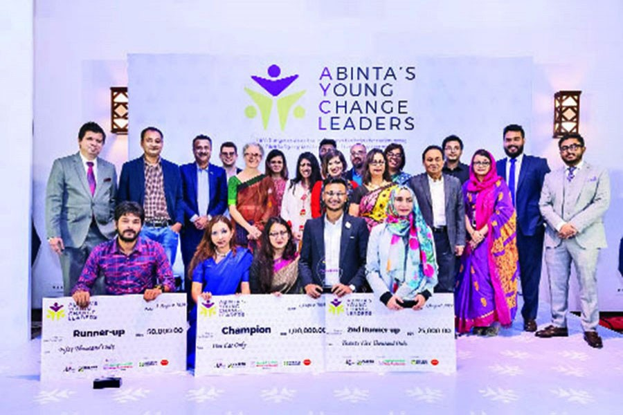 Winners of the grand finale of Abinta's Young Change Leaders (AYCL) pose with dignitaries and organisers for a group photo
