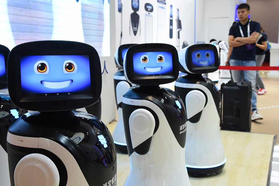 Robotic receptionists at the 2019 World Robot Conference in Daxing District of Beijing — Xinhua photo