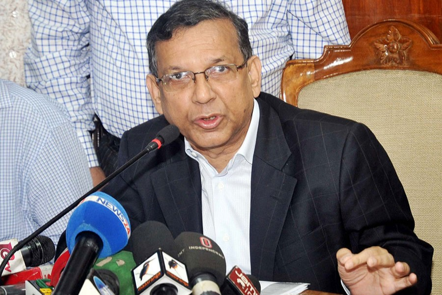 Law Minister Anisul Huq seen replying to questions of journalists at a media briefing — Focus Bangla/Files