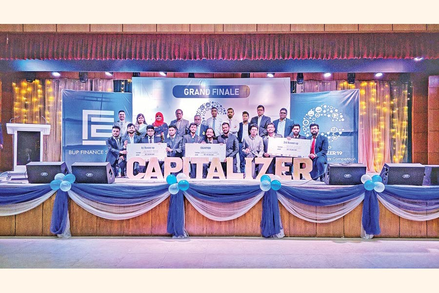 Winners of Capitalizer'19 held at Bangladesh University of Professionals with the judges and guests