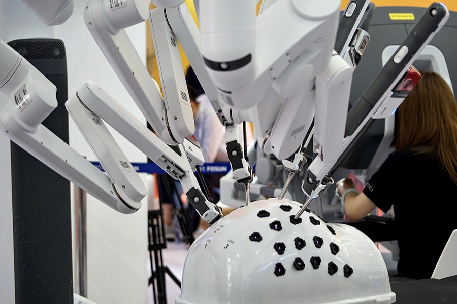 A robot for minimally invasive surgery exhibited at the World Robot Exhibition, part of the 2019 World Robot Conference, in Beijing